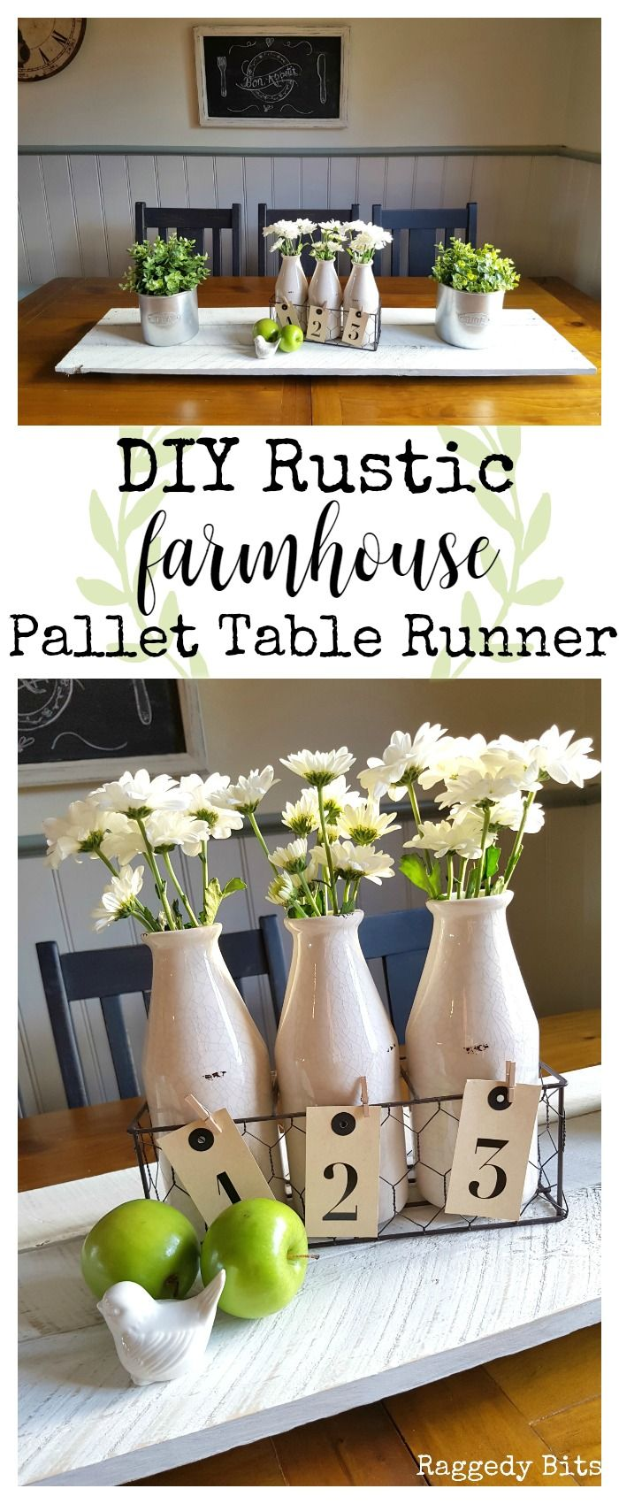 Using an old pallet make a super easy DIY Rustic Farmhouse Pallet Table Runner   Full Tutorial   www.raggedy-bits.com