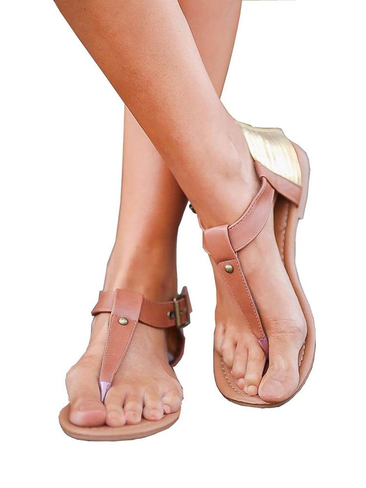 ZuQing Womens Ankle Buckle Strap Thong Gladiator Sandals Summer Pu Leather  Casual Cover Up Flats sandal