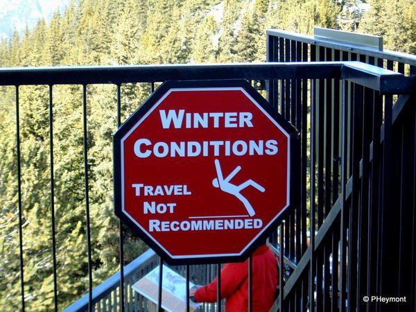 Warning sign, top of Banff gondola lift.