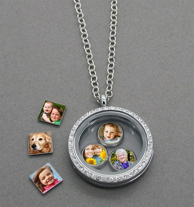 Glass Locket W/ Floating Photo Charms Kit