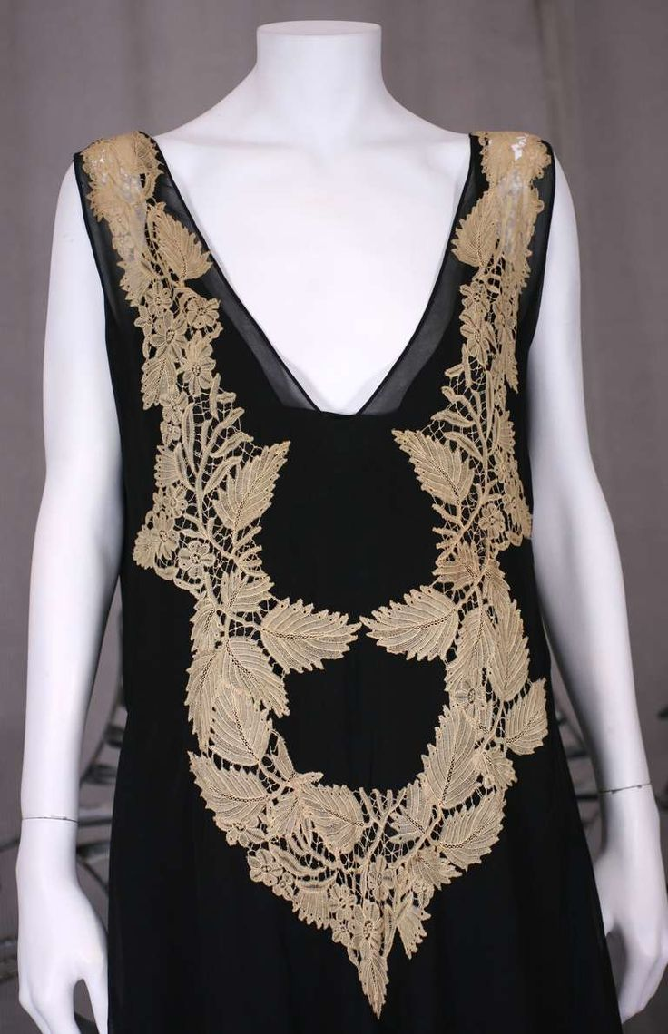 Amazing Art Deco Chiffon Gown with Hydrangea Lace | From a collection of rare vintage evening dresses and gowns at https://www.1stdibs.com/fashion/clothing/evening-dresses/