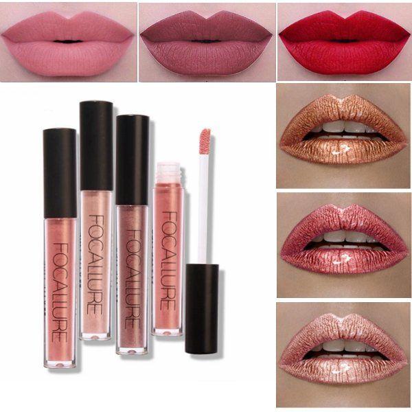 <b>FOCALLURE</b> Matte Metallic Lip Gloss <b>Liquid Lipstick</b> Shimmer ...