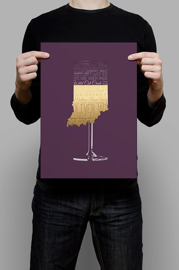 Indiana Wineries - White Wine Version! 11x17 Printable Poster.