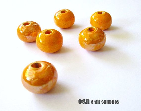 Round greek ceramic beads enameled beads amber yellow by OandN, $4.80