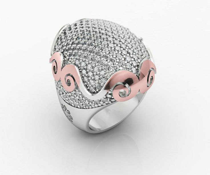 925 Sterling Silver Ring Pink 18k. Gold CZ White. #bohemme #jewelry #glamour #ring #fashion #pinkgold