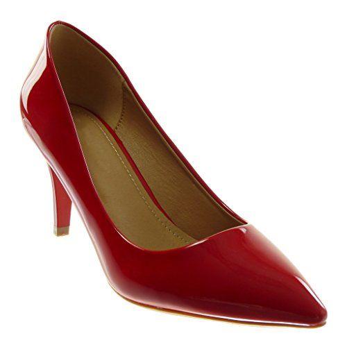 Angkorly Chaussure Mode Escarpin Stiletto Decolleté Femme Verni Talon Haut Aiguille  7.5 cm - Rouge - af9cab30c433