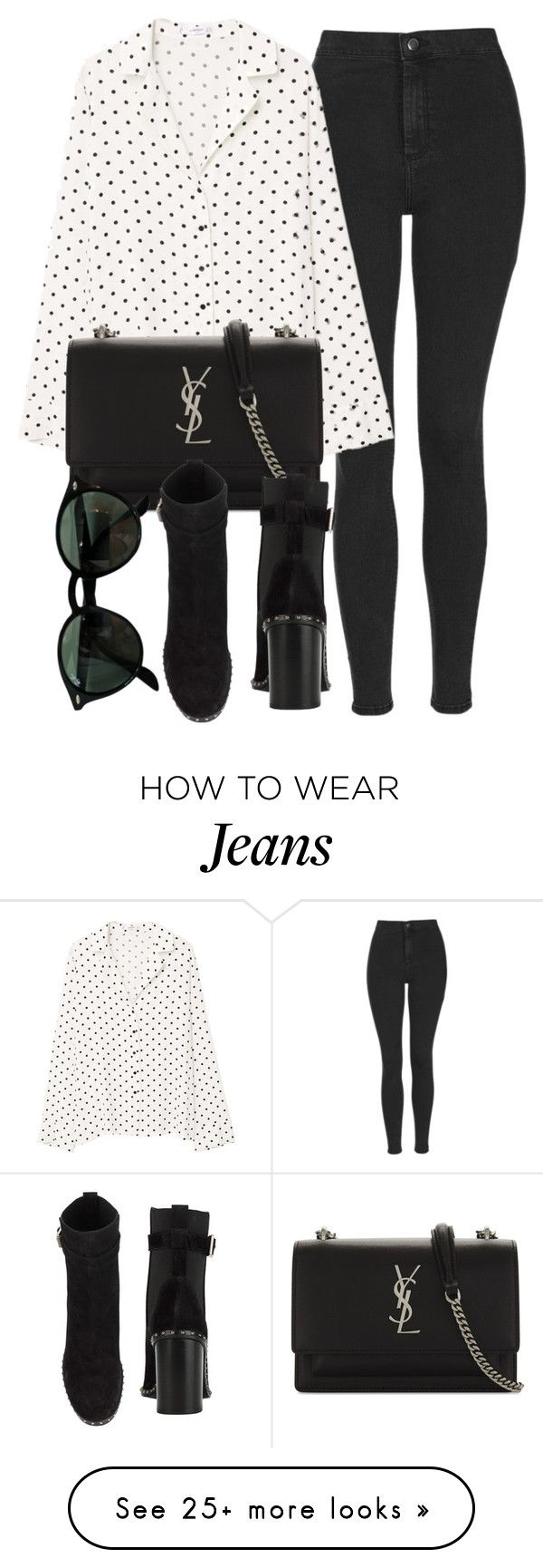 """""""Untitled #7101"""" by laurenmboot on Polyvore featuring Topshop, MANGO, Yves Saint Laurent, Ray-Ban and rag & bone"""