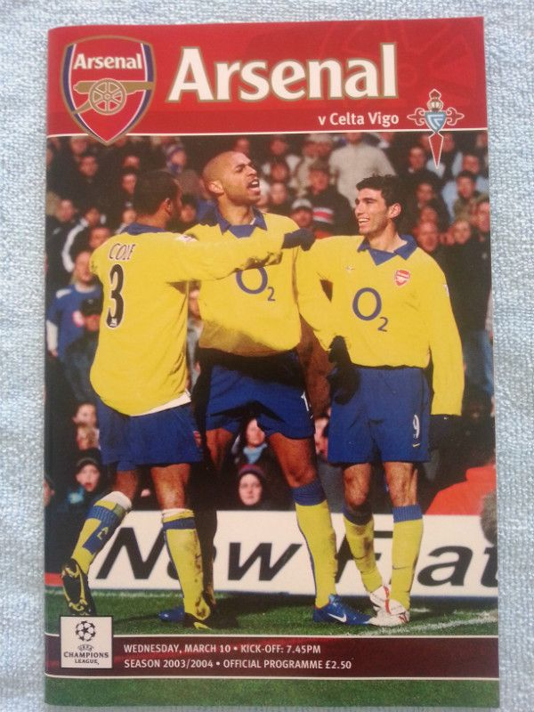 Arsenal v Celta Vigo Football Programme UEFA Champions League 10/03/2004 Listing in the European Club Fixtures,Football (Soccer),Sports Programmes,Sport Memorabilia & Cards Category on eBid United Kingdom