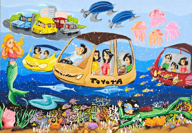 'My Eco-Ocean Cruise Car' by Ellie Yong Sze Ching, Aged 12, Malaysia: 2nd Contest, Silver #KidsArt #ToyotaDreamCar