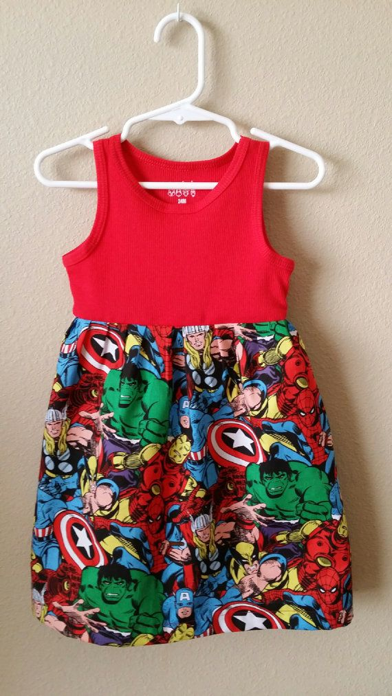 Marvel Comics Dress 12 month by EverythingElva on Etsy, $16.00
