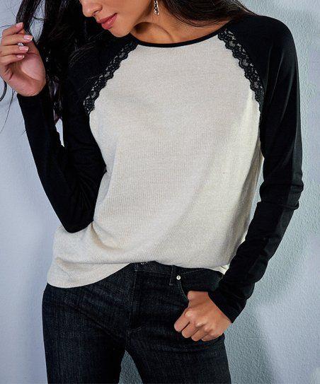 a0936d46003 Milan Kiss Ecru & Black Lace Henley Top - Women | zulily | FaSHioN ...
