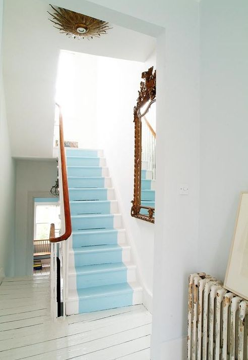 Would love to do this type of paint in bright yellow, painted wood flooring adds light to the basement, nice to add a mirror to open up the space in basement and reflect light.: Idea, Paintings Stairs, Blue, Color, Basements Stairs, Stairs Runners, Paintings Wood, Beaches Houses, Paintings Floors