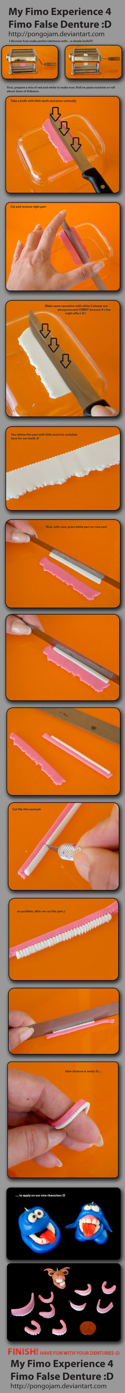 can be use with fondant too Fimo Denture TUTORIAL by *pongojam on deviantART for dentist, bathroom or maybe for a spooky idea or too - fun