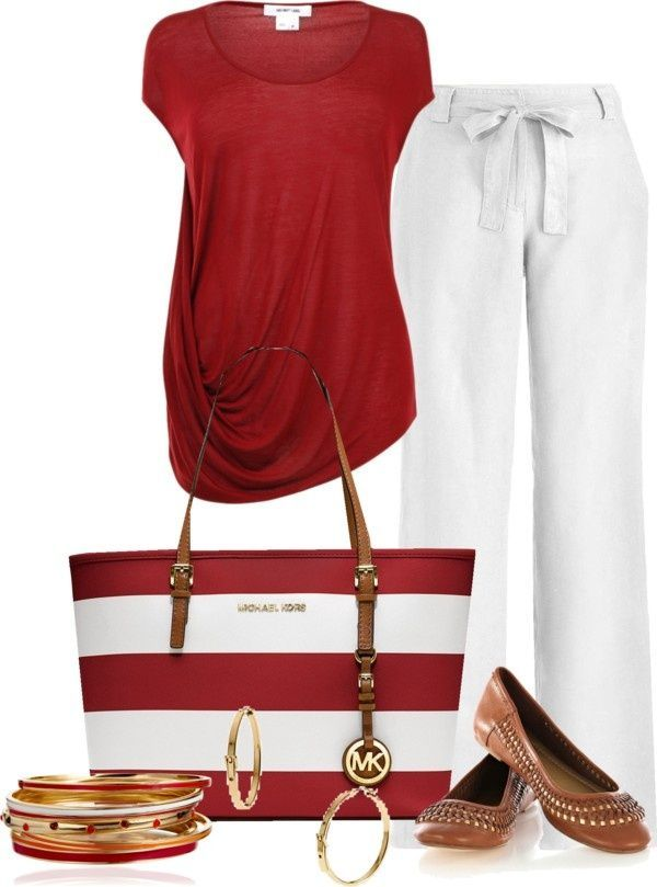 Cute outfit, I like the pants but I am not a big fan of white, but the top with jeans would work also. Love the Michael Kors Handbag