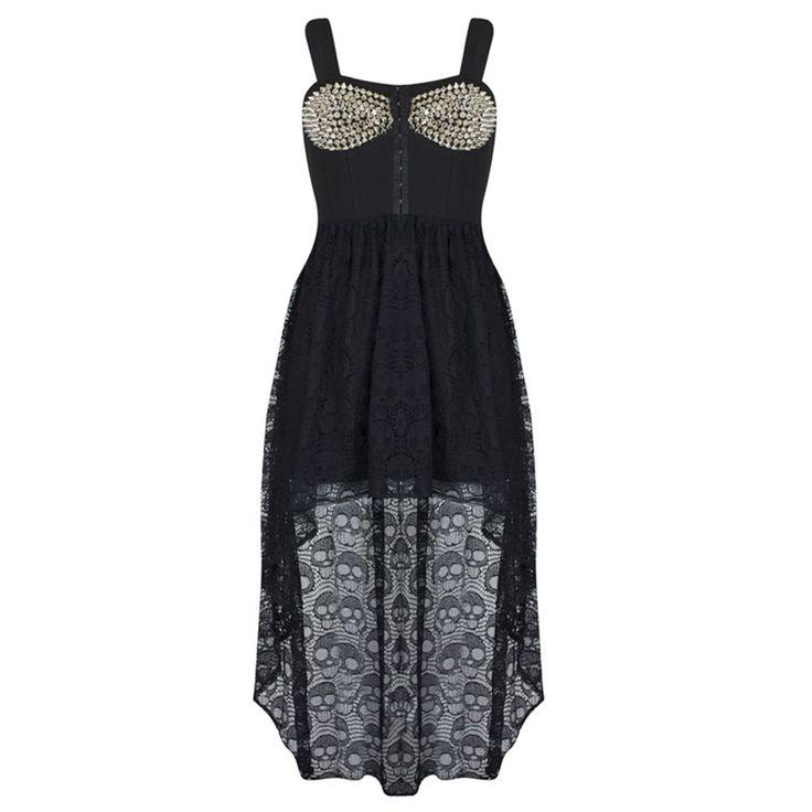 BH met studs jurk zwart - glamrock gothi