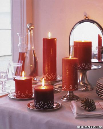 Pillar Candles decorated with string