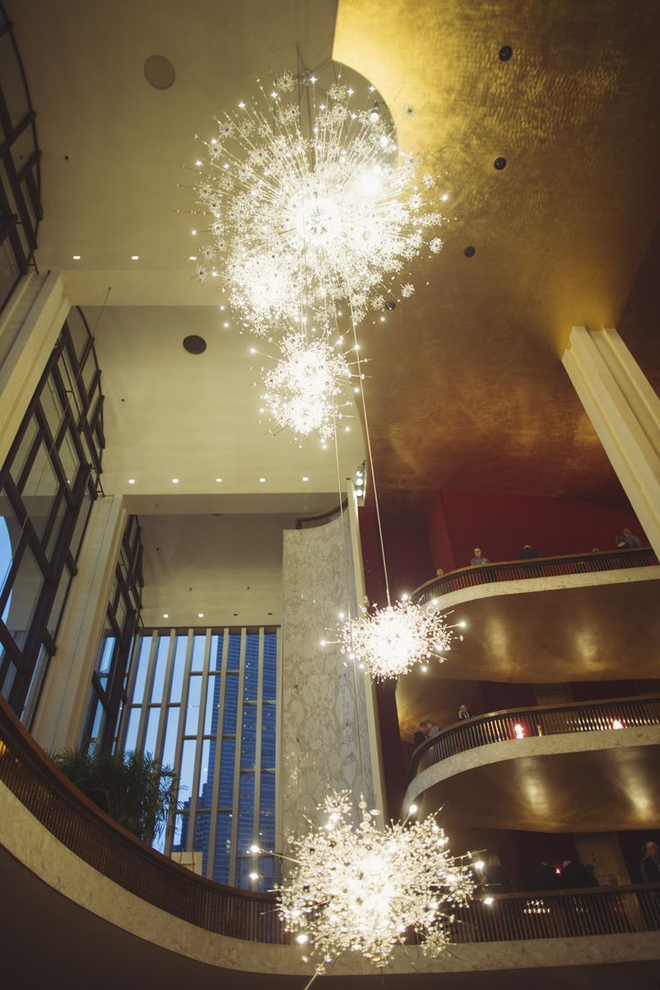 The Lobbyer Chandeliers at the Metropolitan Opera. NYC