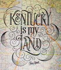 Jesse Stuart 'Kentucky Is My Land' Vintage Map Print
