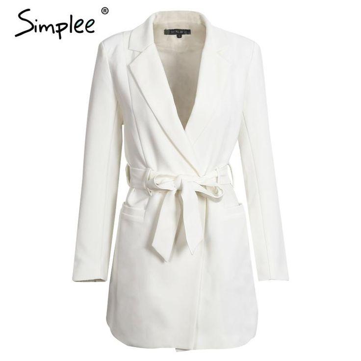 US $27.99 -- Simplee Elegant belt white suit blazer Autumn casual slim long sleeve blazer Women winter 2016 pocket OL jacket coat outerwear aliexpress.com