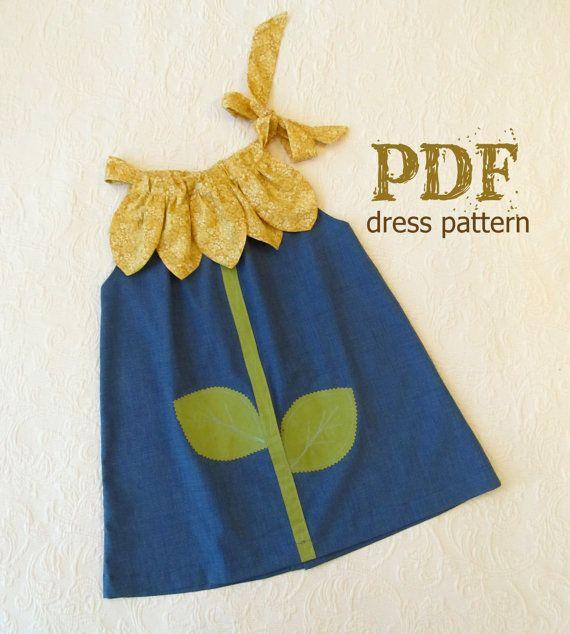 Sunny Flower Pillowcase Dress – Schnittmuster für Mädchen – PDF-Anleitung für Schnittmuster Easy Sew-Größen 12 m bis 10 enthalten