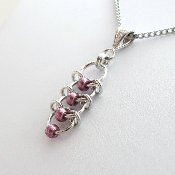 Chain maille Centipede pendant necklace with metallic purple beads by TattooedAndChained, $26.00