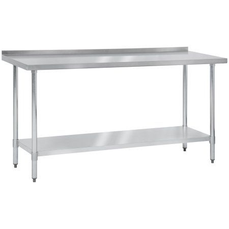 """Best Choice Products 72"""" x 24"""" Stainless Steel Work Prep Table W/ Backsplash For Commercial Restaurant Kitchen Use"""