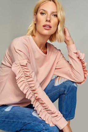 Pembe Fırfır ve İnci Detaylı Sweatshirt