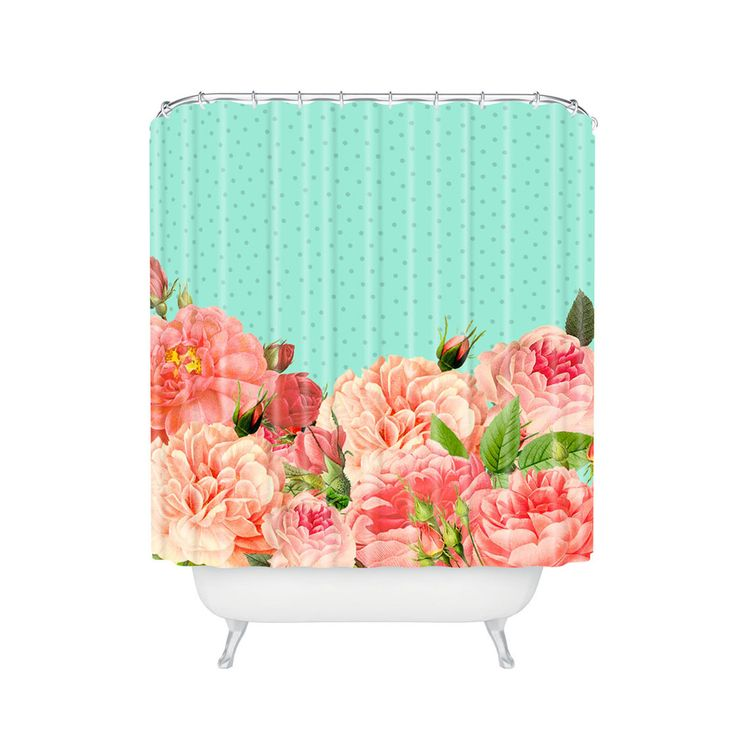 Be bold with this floral shower curtain. If you ask us, it's the best way to tell the subdued bathroom décor of yesterday to take a hike and allow your bathroom to finally have some fun.  Find the Bountiful Garden Shower Curtain, as seen in the We Love 1950s Style Collection at http://dotandbo.com/collections/we-love-1950s-style?utm_source=pinterest&utm_medium=organic&db_sku=DNY0049