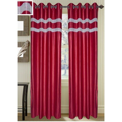 Beautiful Diamond Maroon Extra Long Curtain (9x4 Ft)