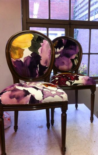 Fabulous chairs covered by Studio Canape Interiors using our digitally printed fabric Gardenia in colourway Grape from our Art & Soul collection. Take a closer look at this striking digitally printed collection... www.prestigious.co.uk/collections/art-and-soul