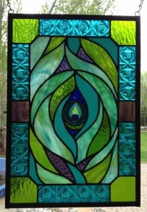 Stained Glass peacock feather panel by dragonflyglas63 on Etsy, $300.00