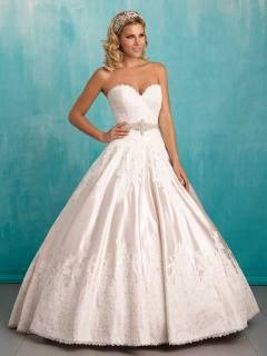 subtly lace satin strapless sweetheart ball gown wedding dress