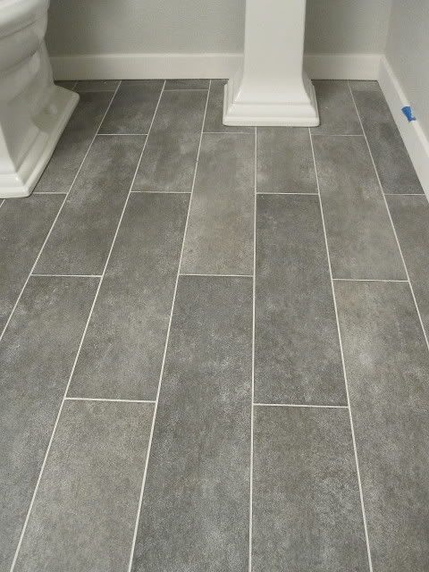Wide plank tile for bathroom. Great grey color!
