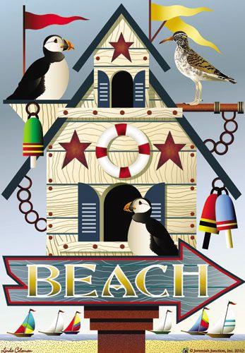 Jeremiah Junction Flag - Beach Birdhouse Decorative Flag at GardenHouseFlags