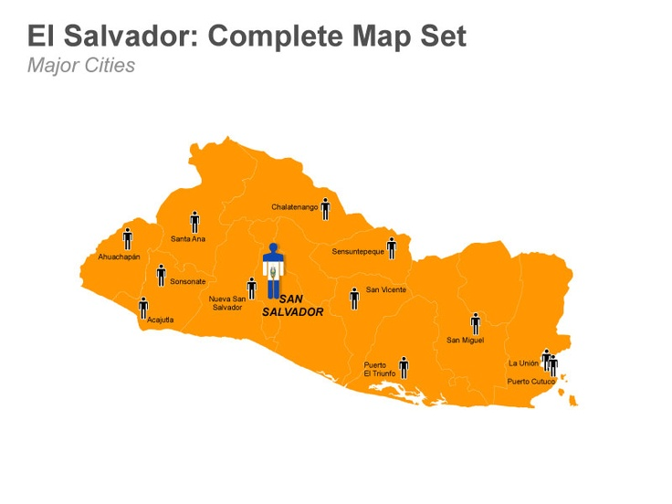 El Salvador Map - Editable in Mac Keynote.  These editable Keynote slides depict the map of El Salvador with its national capital - San Salvador and all the departments and their capitals which include Chalatenango, La Libertad, La Paz, and San Miguel among others. These slides are easily customizable and you make each slide more appealing by changing the text, fonts, colors and many more. Check it out at muezart.com
