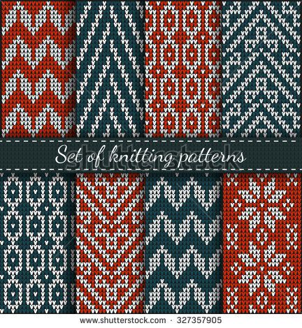 Set of Fair Pattern sweater design on the wool knitted texture. Red and Blue Knitting Ornament