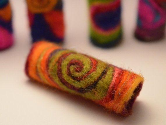 Elemental spiral - Felt Art bead, Needle felted sleeve, tube, dread wrap, bead for dreadlock, dread bead, dreadlocks on Etsy, £8.50