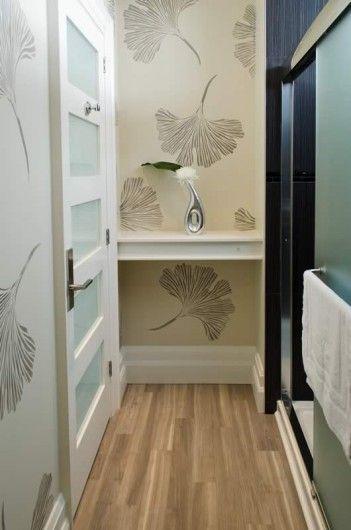A DIY stenciled hallway using the Ginkgo Leaf Stencil from Cutting Edge Stencils. http://www.cuttingedgestencils.com/ginkgo-stencil-kim-myles.html