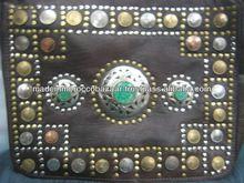 raras marroquíes hechos a mano de color marrón de cuero de la moneda boho tachonado bolsa