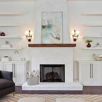 Fireplace with Floating Shelves, Transitional, Living Room
