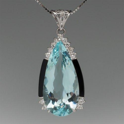 Deco Style Aquamarine Pendant with Onyx & Diamonds Platinum
