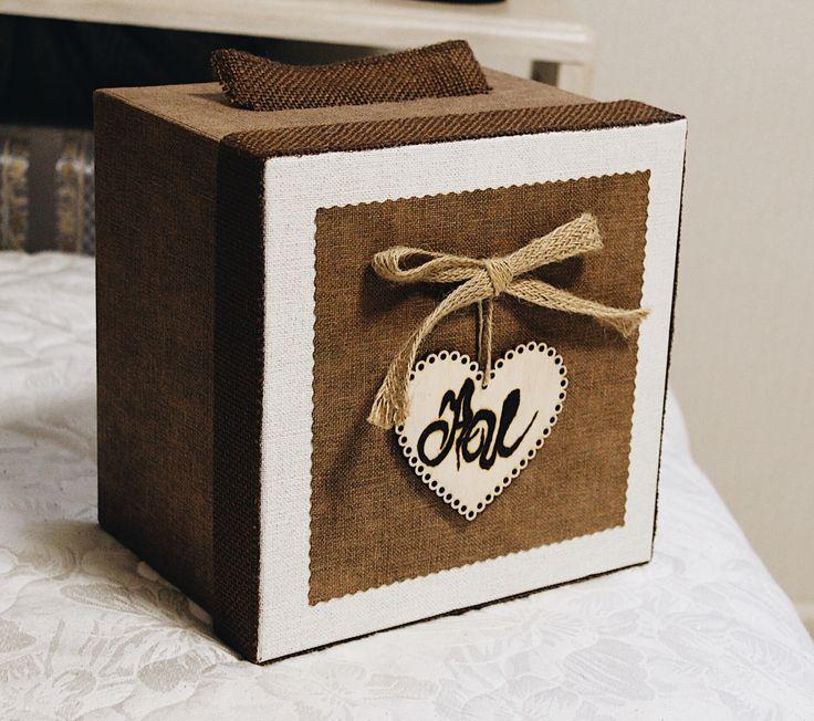 Коробочка для подарков на стол молодоженов #рустик #свадьба #эко
