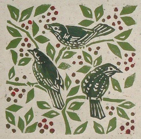 Fieldfares linocut print by StripedPebble on Etsy, £14.00