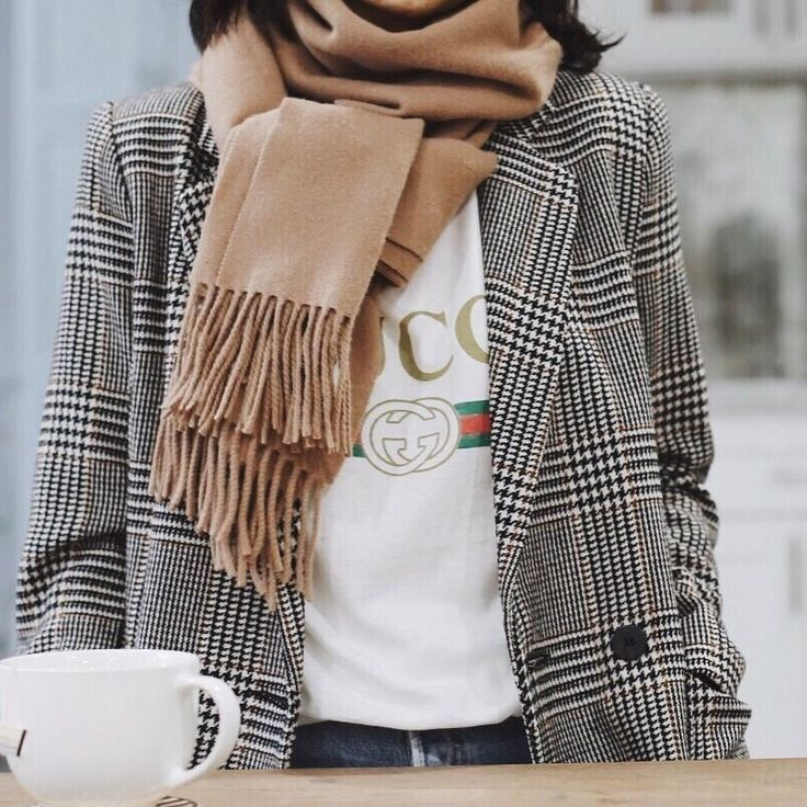 Plaid coat, camel scarf, graphic tee
