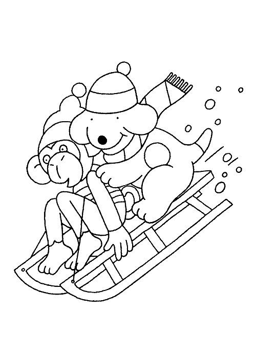 kleurplaat Winter - Dribbel en Steven op de slee
