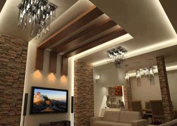 Captivating Three Wood Ceiling Panels Decorate A Living Room False Ceiling That Made  From Photo