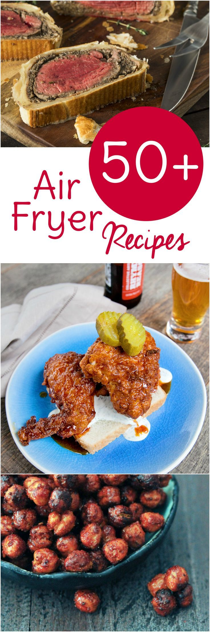 Break out your Airfryer and get cooking with these 50 free Air Fryer recipes broken down by category. Air Fryer Beef, Pork, Chicken, Seafood, Meatless, and Dessert recipes! #airfryer #dinner