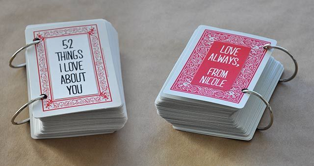 52 things I love about you craft project made from playing cards for a birthday or valentine's day gift