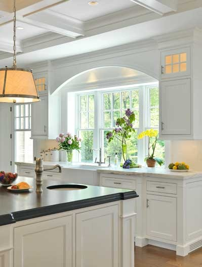 gorgeous window over kitchen sink, coffered ceilings