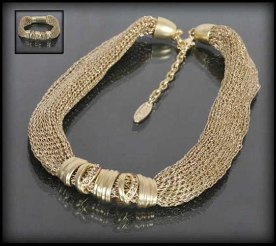 Efektowny złoty komplet biżuterii: naszyjnik i bransoletka   BIŻUTERIA \ Komplety ZESTAWY \ Biżuteria   Evangarda.pl